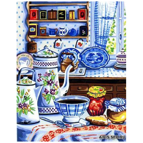 MRC1333-438 Канва с рисунком MARGOT 'Голубой сервиз' 50*65 см