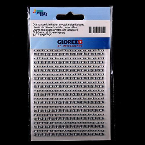 61242252 Стразы кристалл. самоклеющиеся 2/3мм 22 stripes Glorex