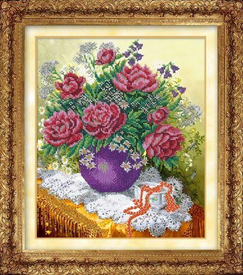 804 Набор для вышивания бисером (Розовые пионы, арт.КН-800)