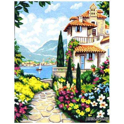 MRC1333-458 Канва с рисунком MARGOT 'Городок' 50*65 см