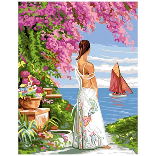 9880.0142.0476 Канва с рисунком Royal Paris 'Девушка у моря' 45*60 см