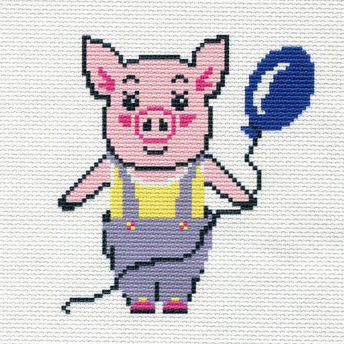 ПК-182 Набор (рис/канв., мулине) Hobby&Pro 'Поросёнок с шариком' 22*22см