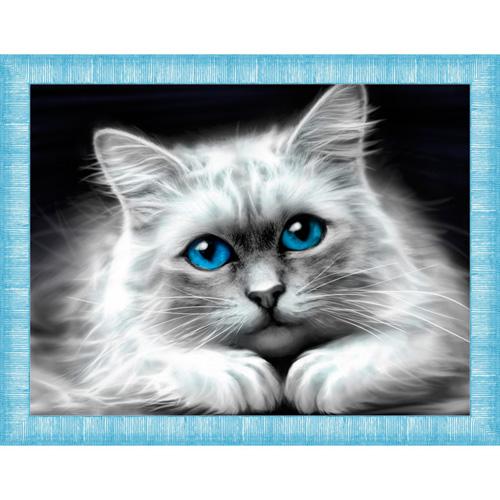 АЖ-1761 Картина стразами «Голубоглазая кошка» 40*30см