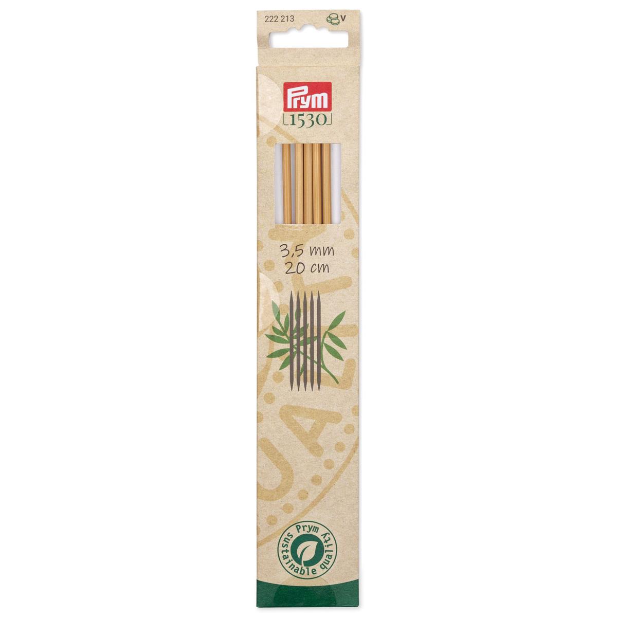222213 Спицы чулочные, бамбук, 3,5мм/20см, 5шт, Prym