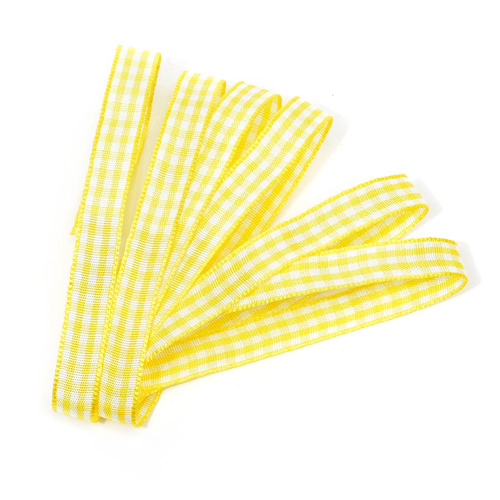 Лента тканевая с рисунком Клетка арт.TBY.LDTK2212 шир.10мм цв.желтый/белый уп.20м, TBYLDTK2212