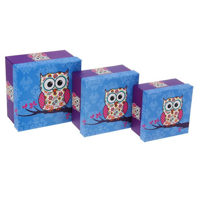 1535857 Набор коробок 3в1 квадрат 'Сова' 17*17*9,5/15*15*8,5*13*13*7,5 см
