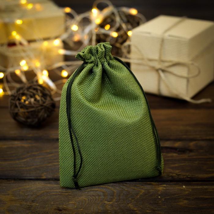 2909466 Мешочек подарочный из холщи 13 х 18 см ,зеленый