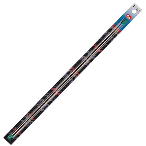 171303 Спицы прямые алюминиевые с наконечниками, серебристый, 2 мм*40 см, упак./2 шт., Prym