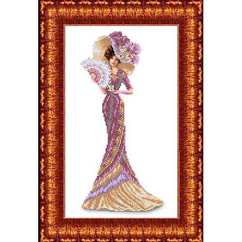 КБЛ-3013 Канва с рисунком для бисера 'Дама с кофе' А3