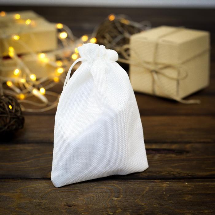 2909467 Мешочек подарочный из холщи 13 х 18 см ,белый