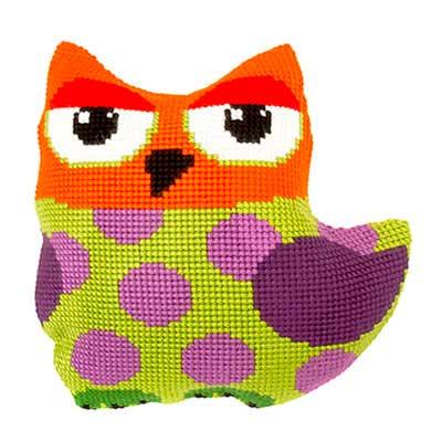 9337 ORCHIDEA Набор для вышивания подушка 'Сова' 40х40 см