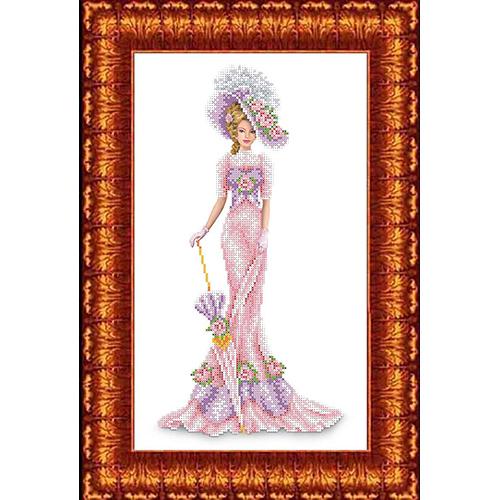 КБЛ-3014 Канва с рисунком для бисера 'Дама в розовом' А3