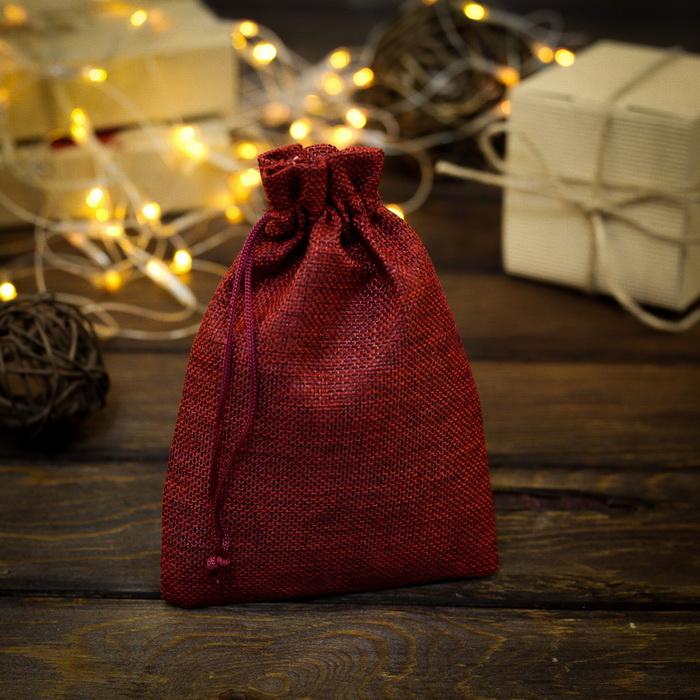 2909469 Мешочек подарочный из холщи 13 х 18 см, красный
