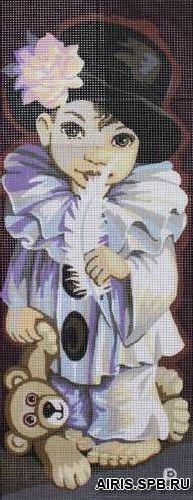 9880.0137.0078 Канва с рисунком Royal Paris 'Мальчик с мишкой' 25*60см