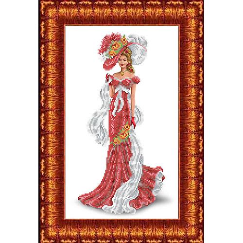КБЛ-3015 Канва с рисунком для бисера 'Дама с шарфом' А3