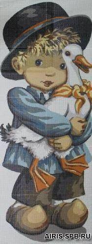 9880.0137.0096 Канва с рисунком 'Мальчик с гусем' 49*19 см