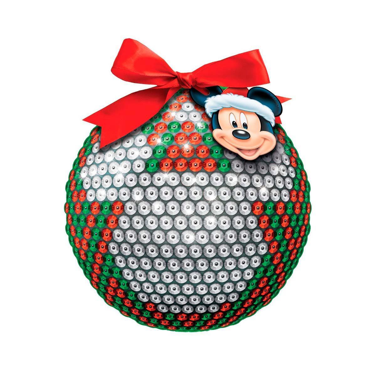 1371702 Новогодний шар Микки Маус с пайетками + крепления + лента + мини-открытка