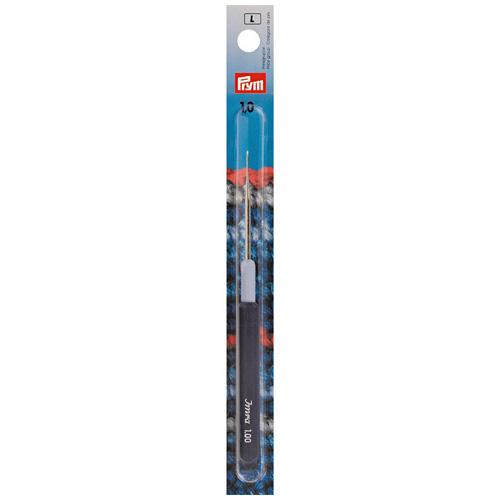 175323 Крючок для тонкой пряжи с пластиковой ручкой и колпачком, сталь, 1,0 мм, Prym