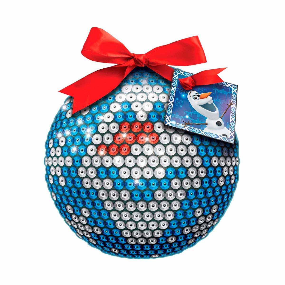 1371705 Новогодний шар 'Олов' Холодное сердце с пайетками + крепления + лента + мини-открытка