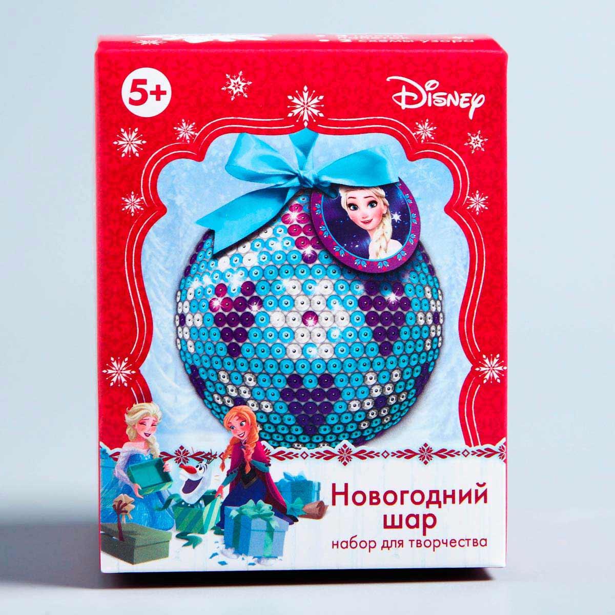 1371706 Новогодний шар Холодное сердце с пайетками + крепления + лента + мини-открытка