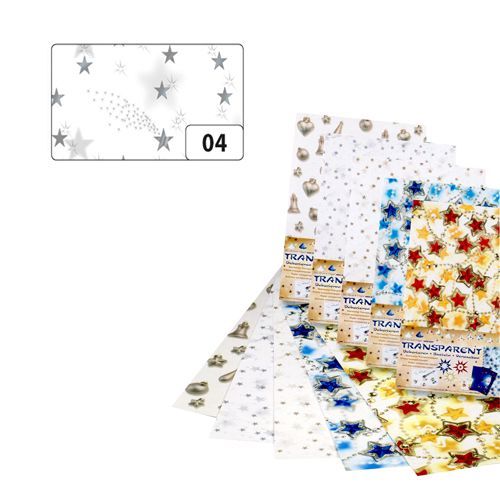 88104 Транспарентная бумага 'Звезды', серебро, 115 г/м?, 50,5*70 см, Folia