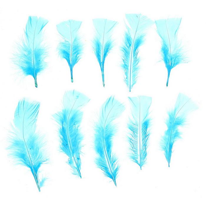 1250936 Набор перьев для декора 10 шт, размер 1 шт 10* 4 цвет голубой