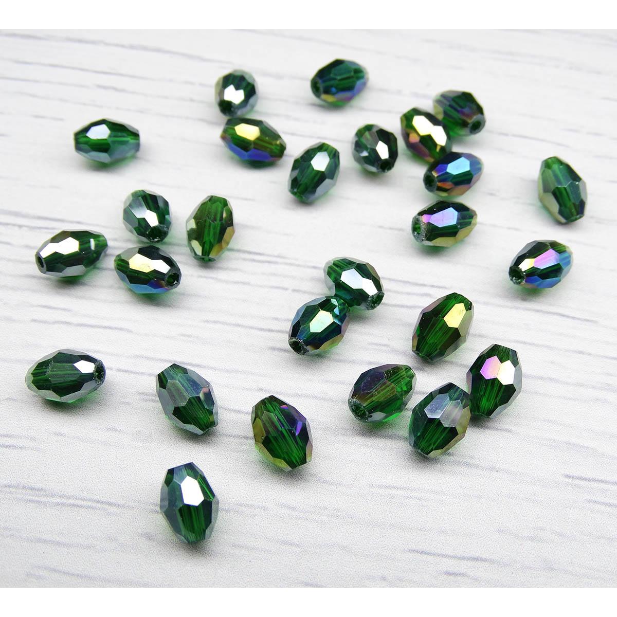 БО006ДС68 Хрустальные бусины формы 'овал' Темно-зеленый прозрачный (с покрытием) 6х8 мм, 15 шт/упак. Астра