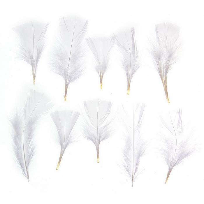 1250942 Набор перьев для декора 10 шт, размер 1 шт 10*4 цвет белый
