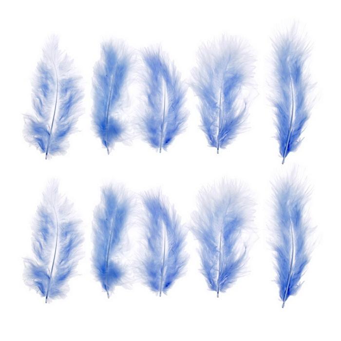1250951 Набор перьев для декора 10 шт, размер 1 шт 10*2 цвет голубой