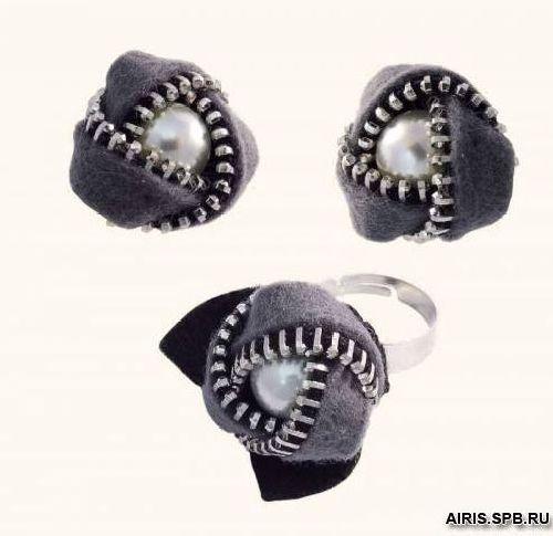 1344АС Набор для вышивания 4*3,5см 'Клипсы и перстень Розочки' (Риолис)