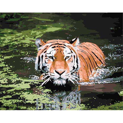 HS0016 Набор для рисования по номерам 'Тигр в воде' 40*50см