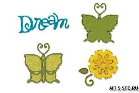 657081 Форма для вырубки Бабочки #2 4 шт Sizzlits