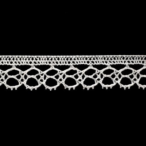 50-1384/01 Тесьма вяз ажур х/б 18мм*25м бел одностор