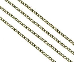 25643 Цепочка мет., ленточное плетение, 3х2,5х0.2мм, уп.1,5м, цв.бронза