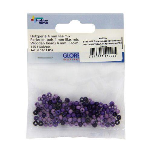 61651052 Бусины дерево, лиловый микс, 4 мм, упак./155шт., Glorex