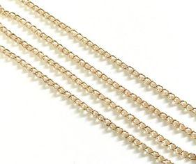 25644 Цепочка мет., ленточное плетение, 3х2,5х0.2мм, уп.1,5м, цв.золото