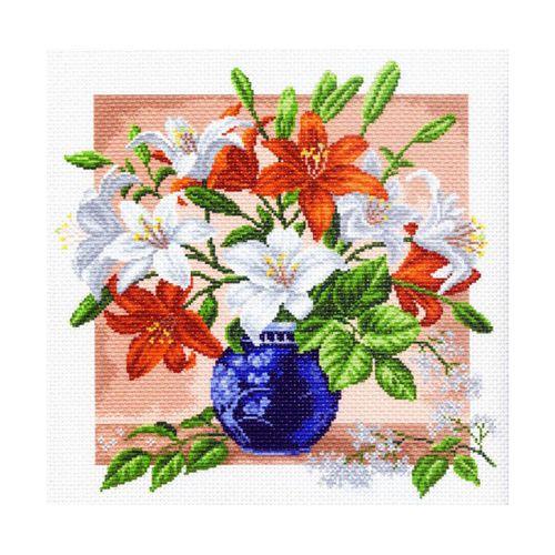 1249 Канва с рисунком 'Матренин посад' 'Лилии', 41*41 см