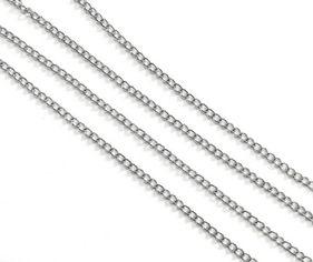 25645 Цепочка мет., ленточное плетение, 3х2,5х0.2мм, уп.1,5м, цв.никель