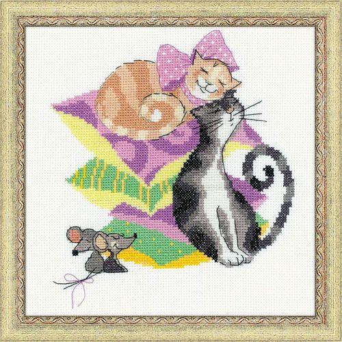 1466 Набор для вышивания Riolis 'Кошки-мышки', 20*20 см