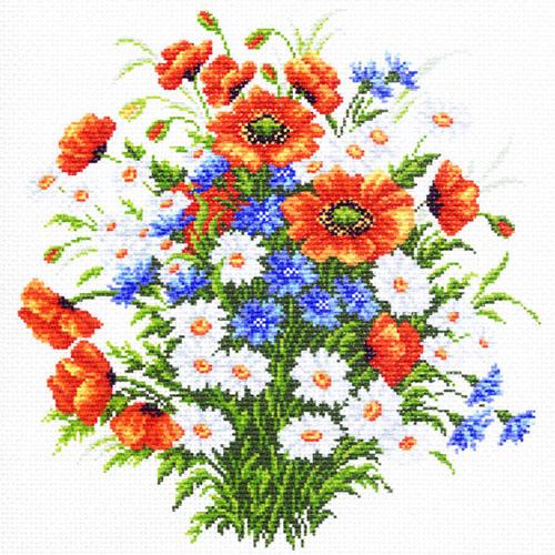 1253 Канва с рисунком 'Матренин посад' 'Полевой цвет', 41*41 см