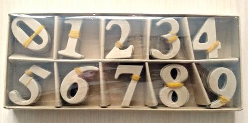 SCB271062 Цифры 10шт. из папье-маше в коробочке кор. 9*22см, цифры - 4см