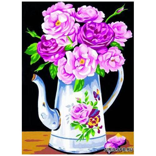 MRC722-287 Канва с рисунком MARGOT 'Цветы в чайнке' 30*40 см