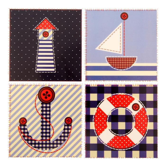 1529740 Термонаклейка для декорирования текстильных изделий 'Морские приключения', 14 х 14 см