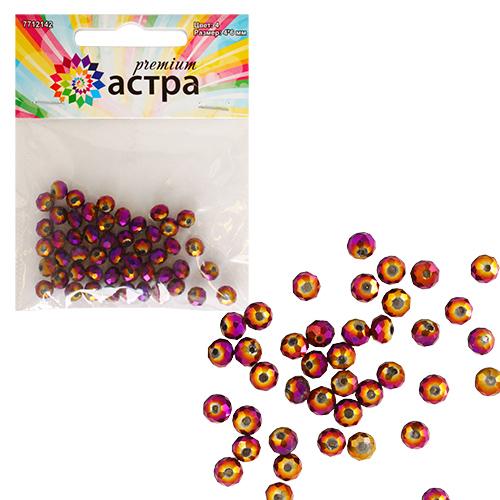 11310 Бусины стеклянные, 4*6 мм, упак./50 шт., Астра Premium