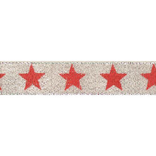 Декоративная лента 'Звезды', DM-007, 15 мм*32,9м серебро/красный
