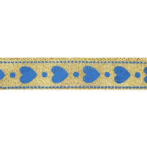 Декоративная лента 'Сердечки', DM-002, 15 мм*32,9м золото/синий