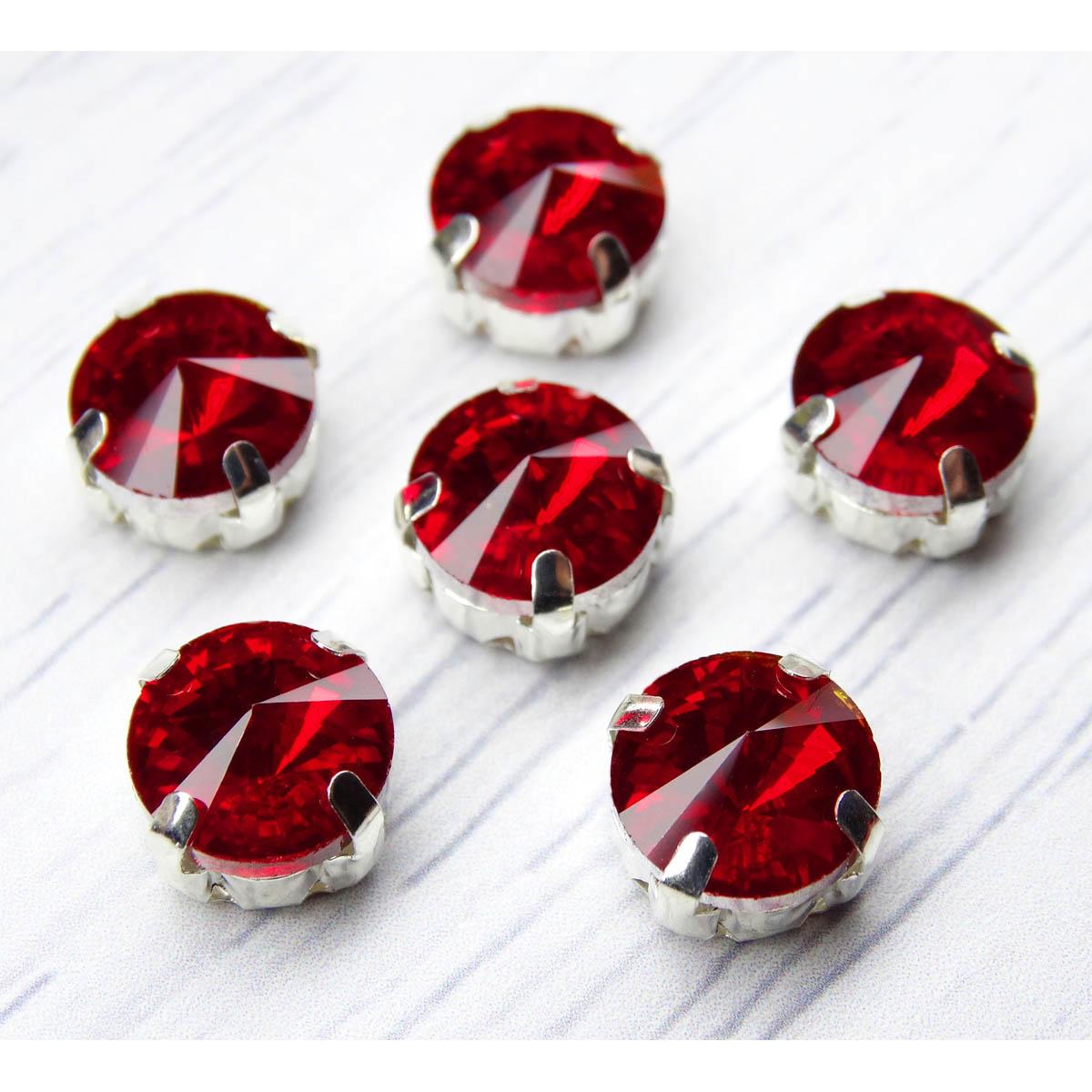 РЦ008НН10 Хрустальные стразы в цапах круглой формы, красный 10 мм, 5 шт. Астра
