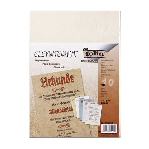 951400 Бумага с имитацией пергамента, белый, 110 г/м?, А4, упак./10 листов, Folia