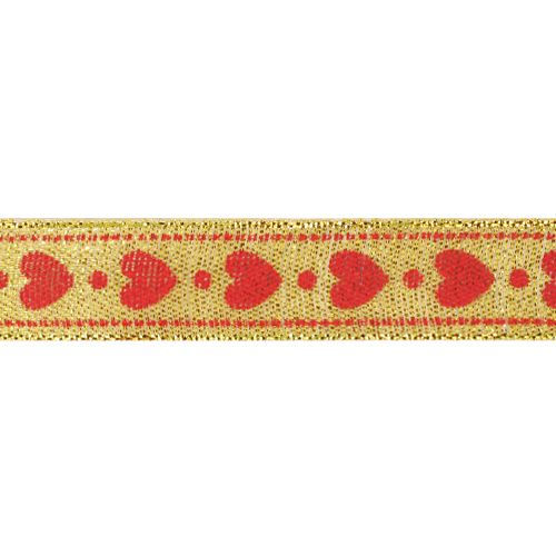 Декоративная лента 'Сердечки', DM-011, 15 мм*32,9м золото/красный
