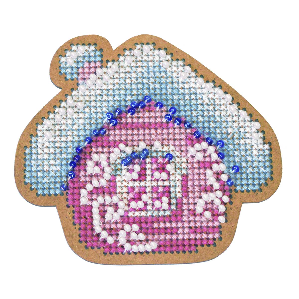 ИК-002 Набор для вышивания крестом на основе Созвездие 'Новогодняя игрушка 'Избушка' 7*8см